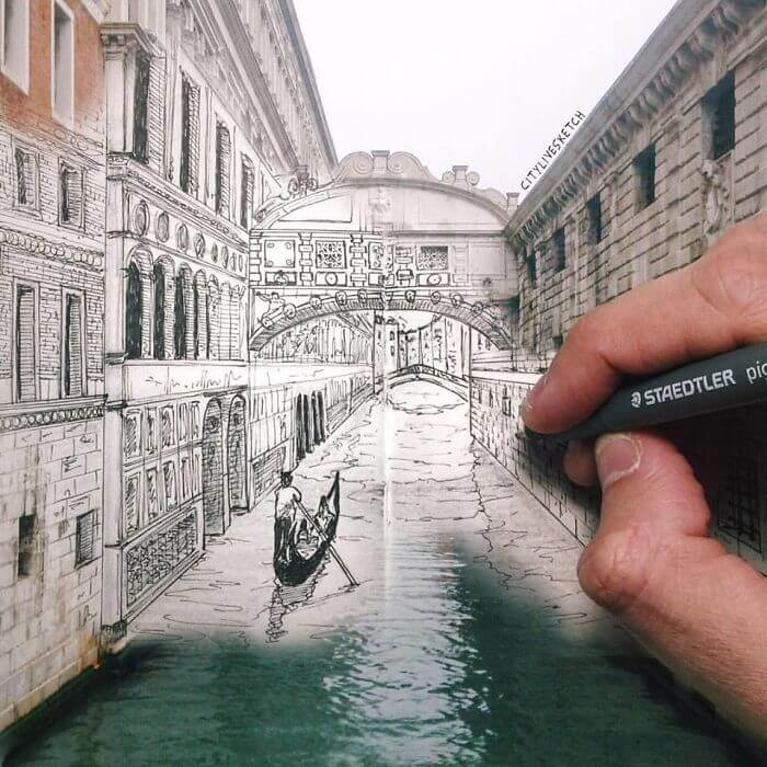 Pietro Cataudella 3D sketches of famous landmarks