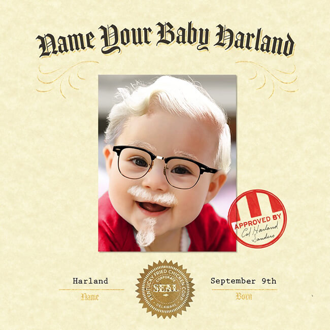 KFC really wants a baby named Harland and is willing to pay US$11,000 in tuition