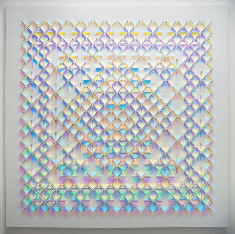 Dichroic installations reflect a rainbow of colours in the light