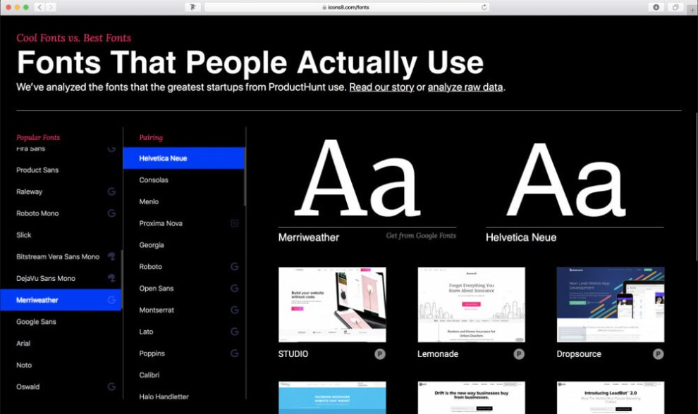 Fonts that people actually use