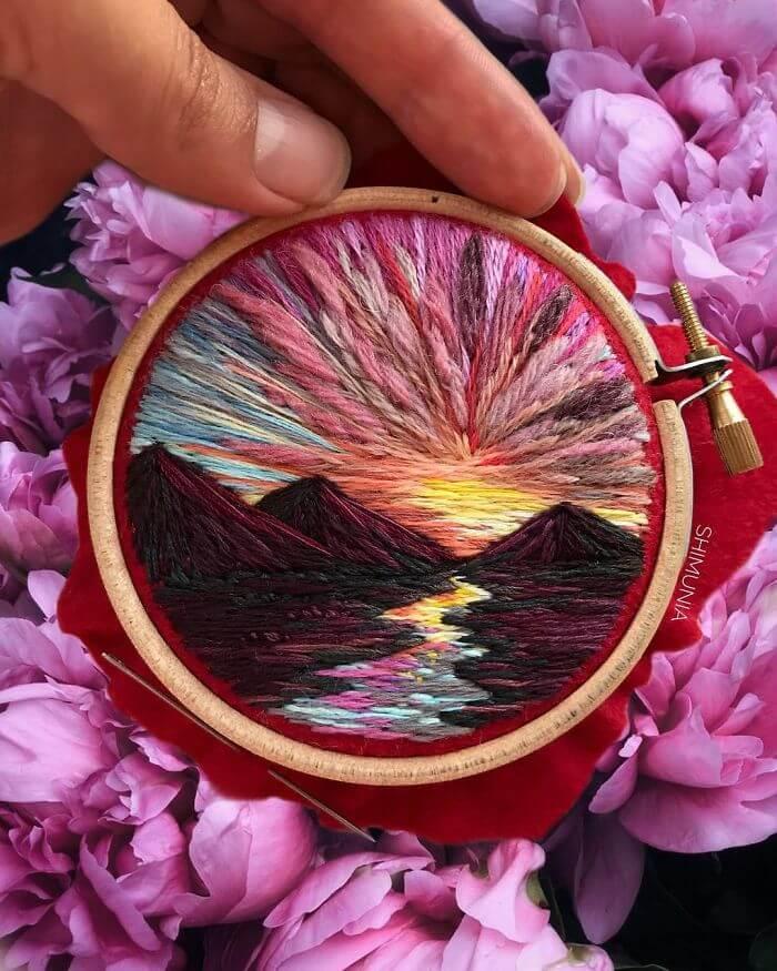Vera Shimunia embroidery landscape artworks