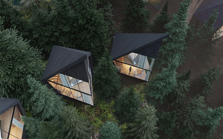 Prism-shaped sustainable treehouses blend into the forest