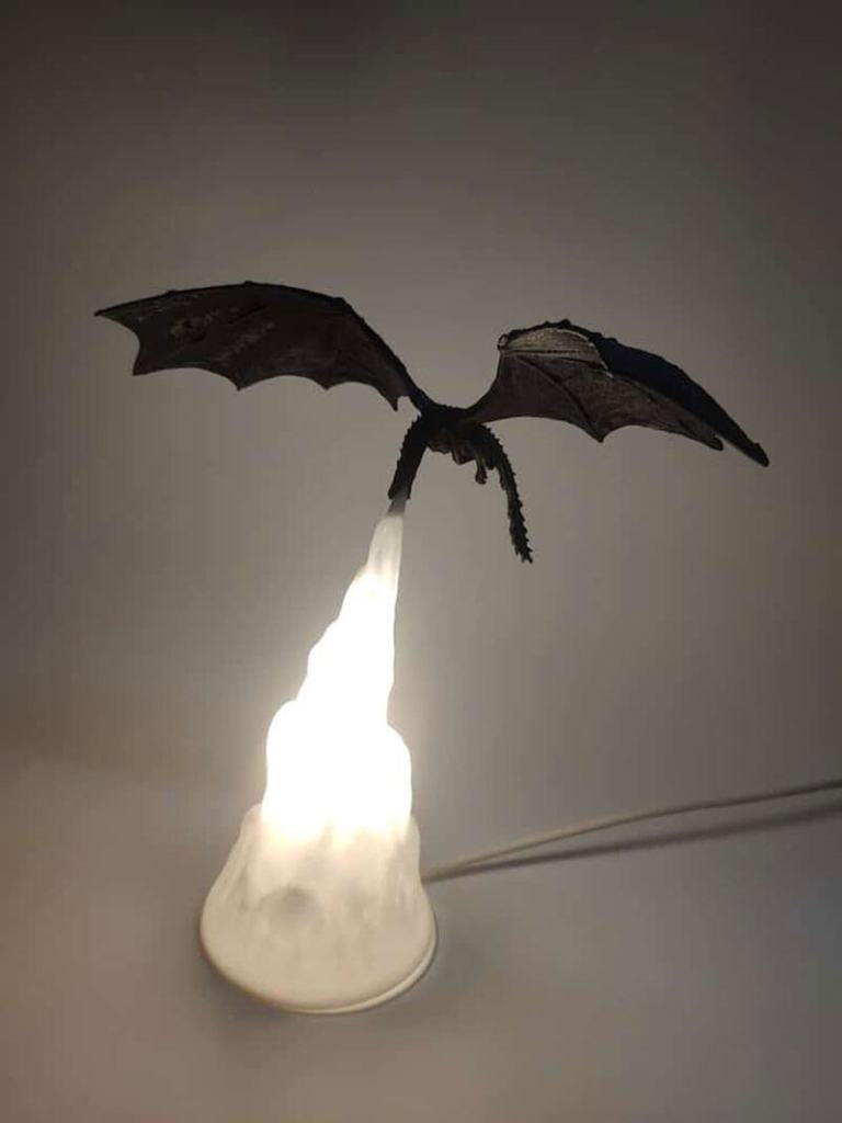 3D-printed, fire-breathing dragon lamp