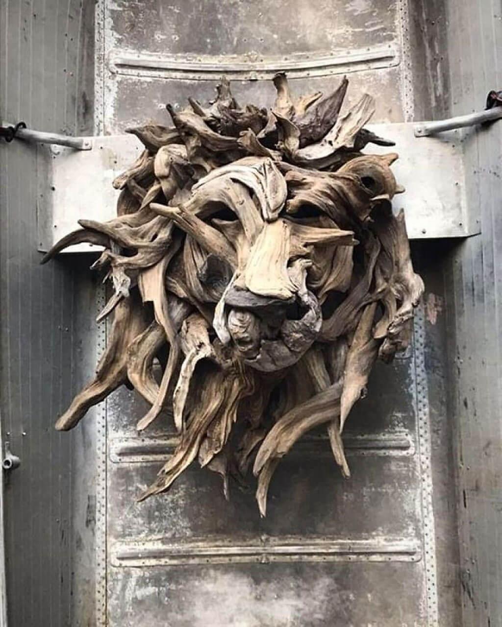 Driftwood lion's head