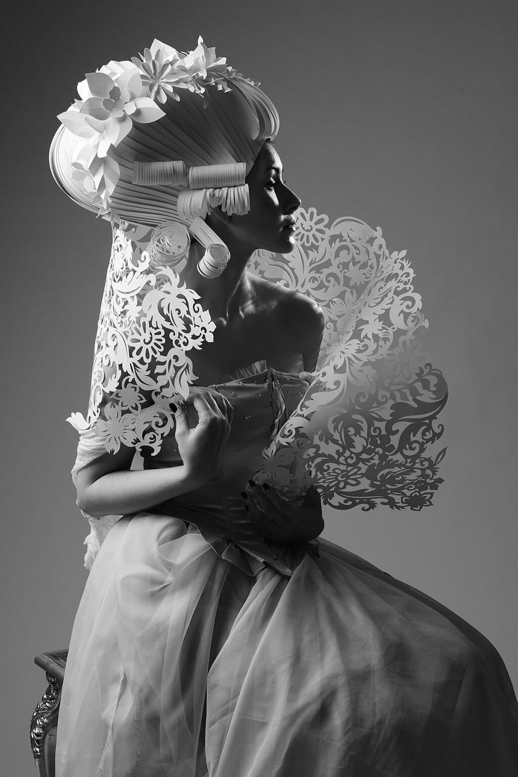 Baroque-inspired paper fashion