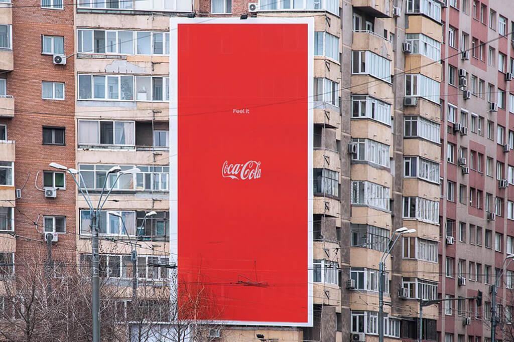 Coke bottle optical illusion ads