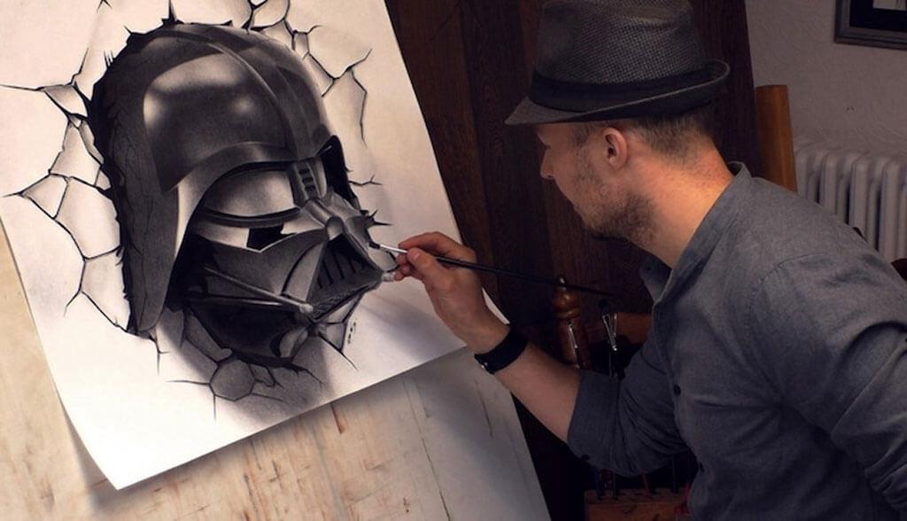 Optical illusion Darth Vader painting