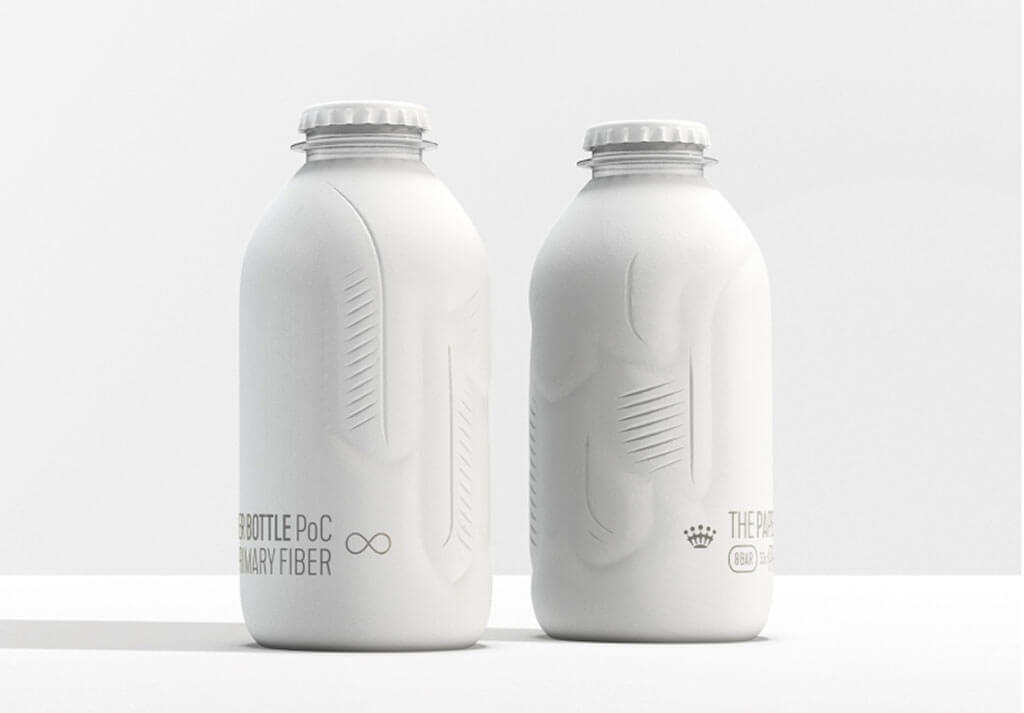Plant-based bottles have paper shell and plastic centre