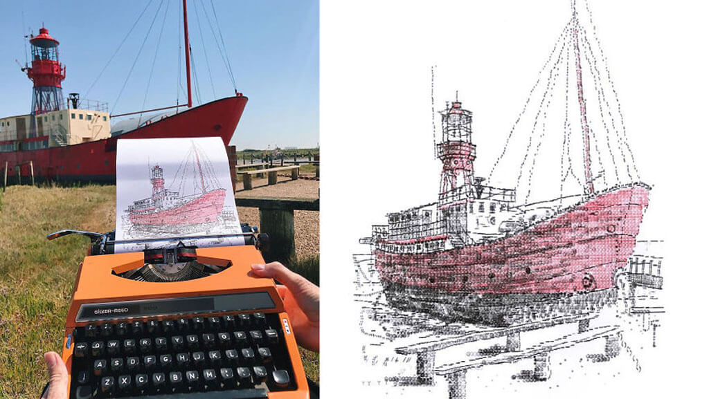 Ship drawing using a typewriter