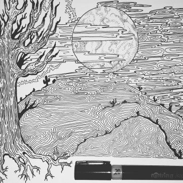 Pen and ink sky and tree