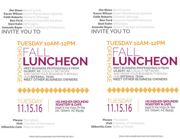 Double sided Luncheon Flyer Design for Gilbert Chamber of Commerce..