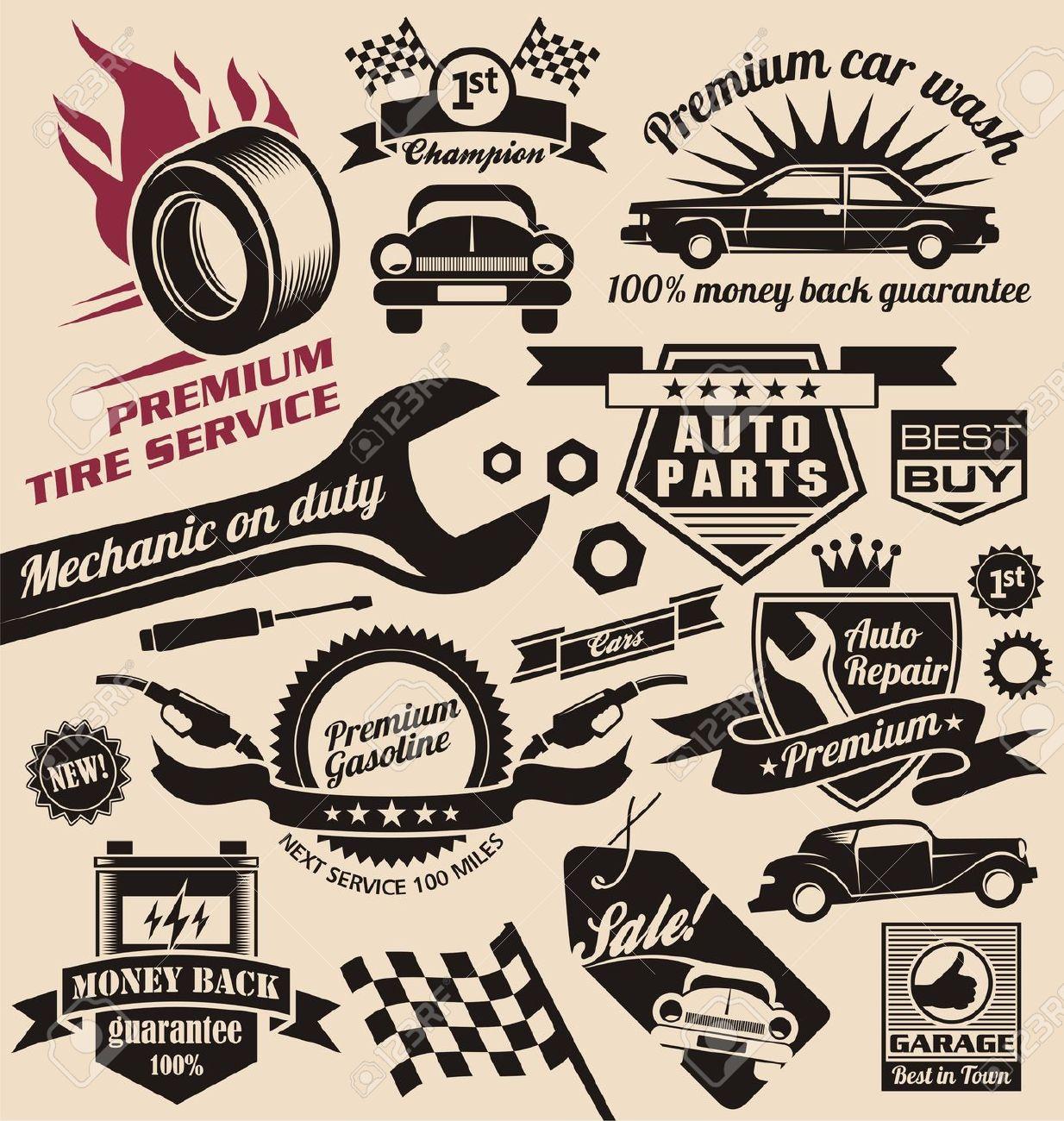 17432879-set-of-vintage-car-symbols-and-logos-Stock-Vector-auto ...