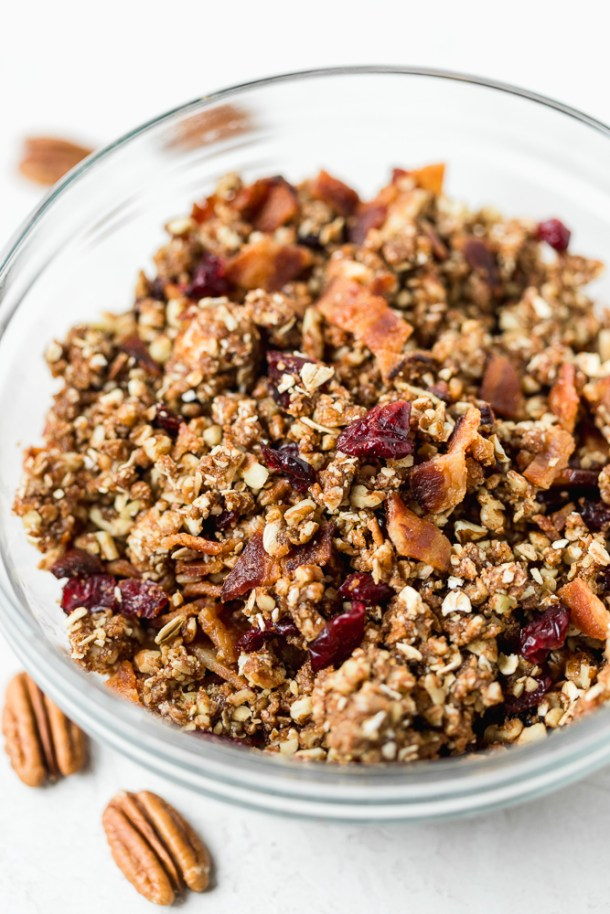 Close up of pecan, dried cranberry, and bacon crumble.