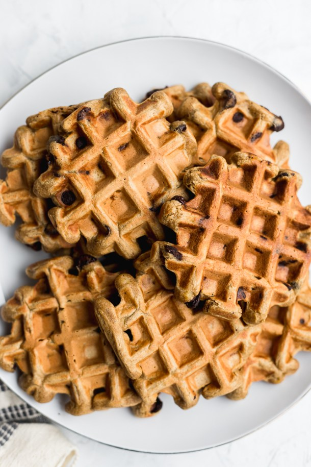Pile of homemade healthy waffles.