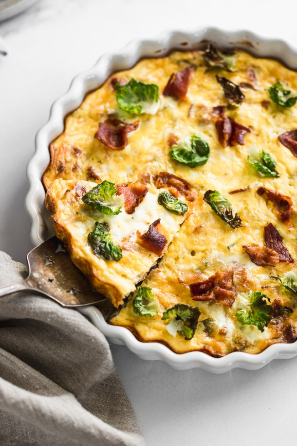 Bacon and Brussel sprout crustless quiche.