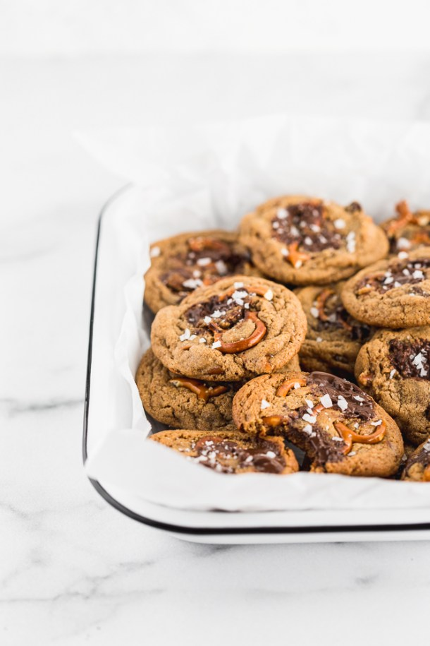 Ultimate almond butter chocolate chunk cinnamon chip pretzel cookies.