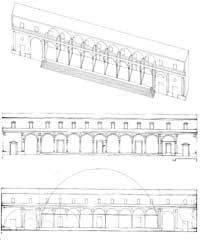 Perspectiva esquemática, elevação e esquema de proporções