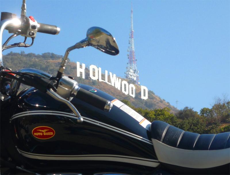 Moto Guzzi California Vintage under the Hollywood sign.
