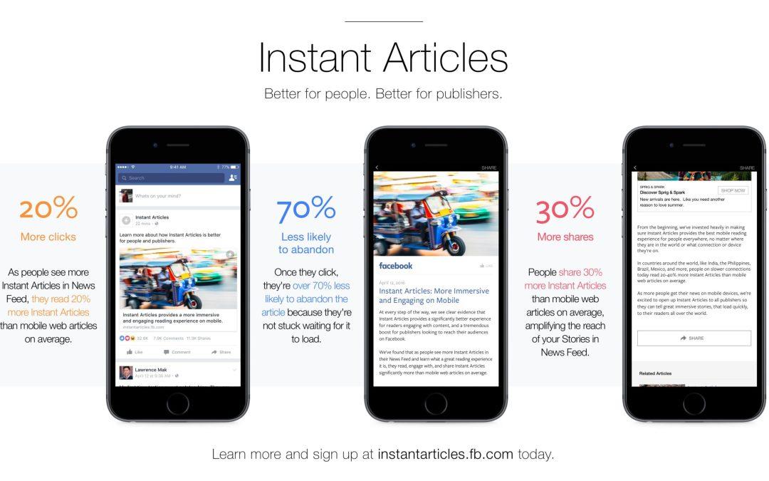 Que son los Instant Articles de Facebook  y porqué deberías Implementarlos