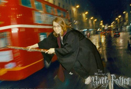 Dani flies through London on her broom