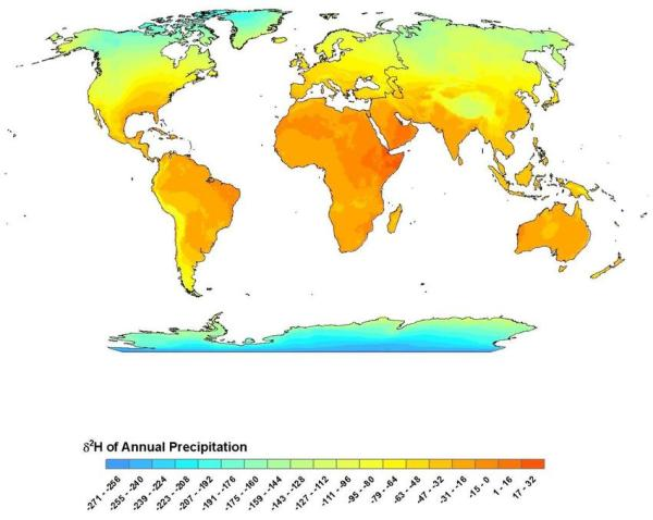 Porcentaje de deuterio en las precipitaciones