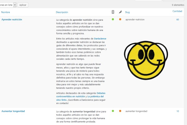Descripcion de las categorias de mi blog Daniscience