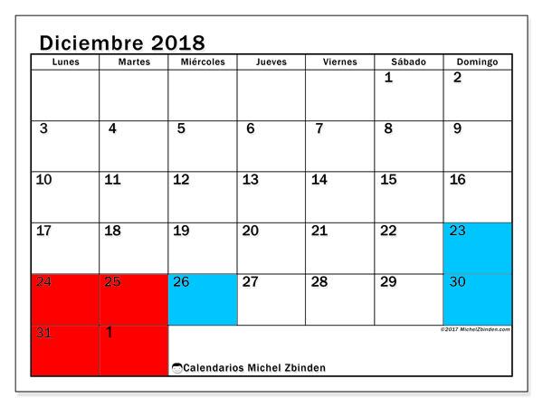 Calendario de Navidad 2018 2019