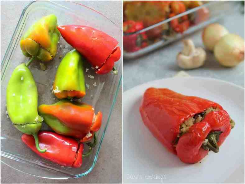 Quinoa, mushrooms and green peas stuffed peppers - daniscookings.com