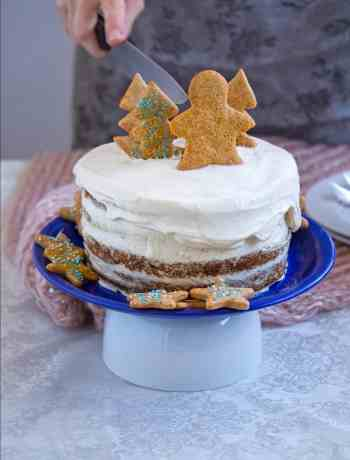 Healthy Apple Date Cake with spelt flour and maple mascarpone frosting. The best cake for any kids party!
