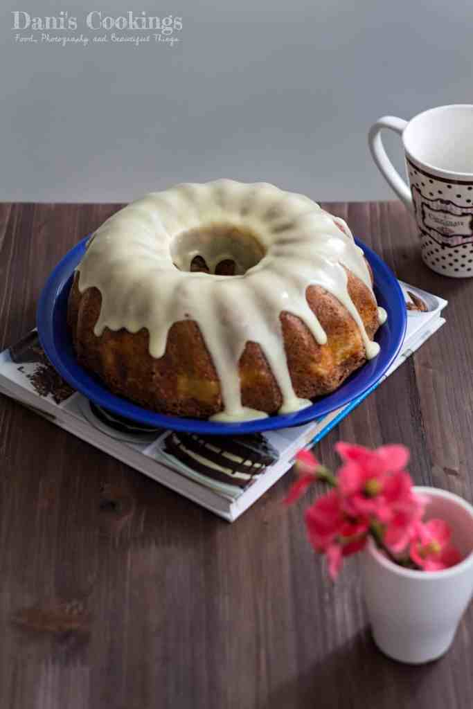Peanut Butter Bundt Cake with Cheesecake Filling and White Chocolate Glaze | Dani's Cookings