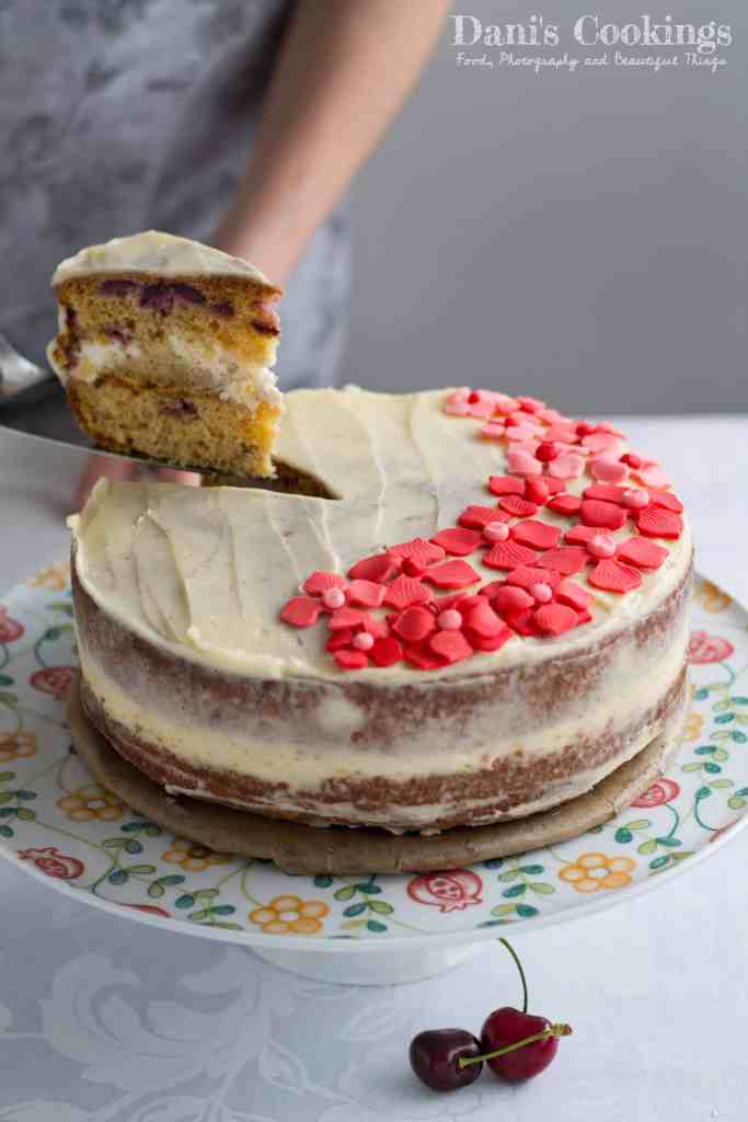 Easy Cherry Strawberry Layer Cake with Fondant Flowers | Dani's Cookings