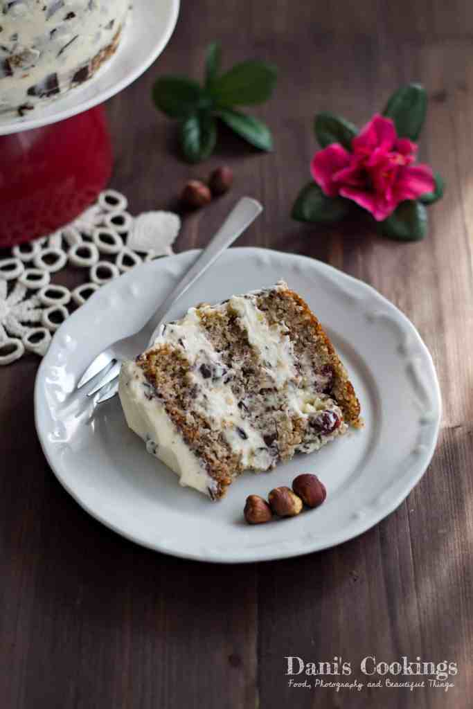 Hazelnut Cake with Stracciatella Frosting and Dried Cranberries | Dani's Cookings