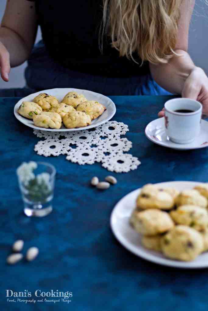 Chewy and softer White Chocolate Pistachio Cookies made easy! For details and full recipe check daniscookings.com