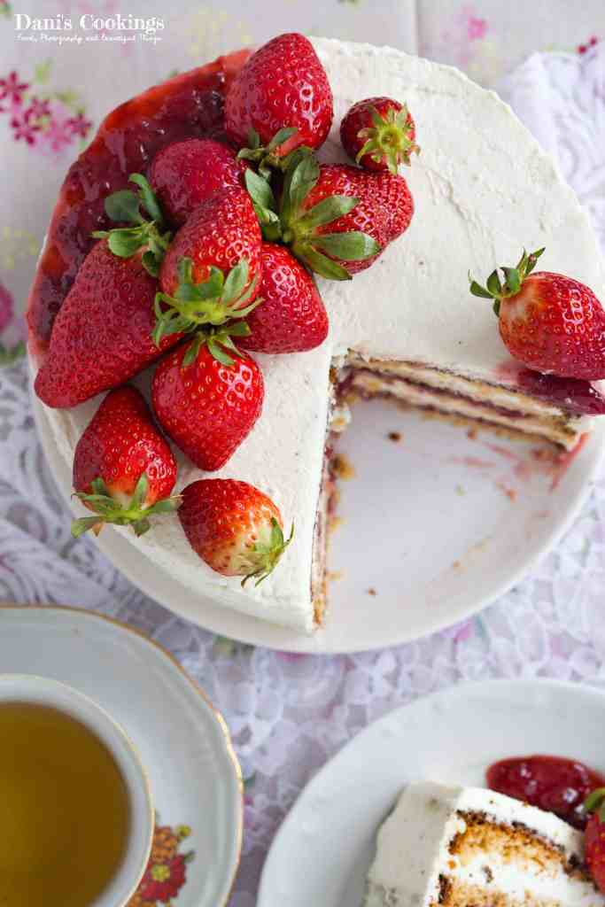 Peanut Butter Strawberry Jam Cake | Dani's Cookings