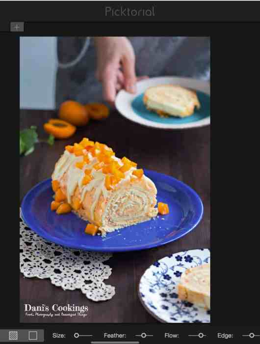 Photo Editing Tutorial - editing a photo of Apricot Cake Roll - local adjustments
