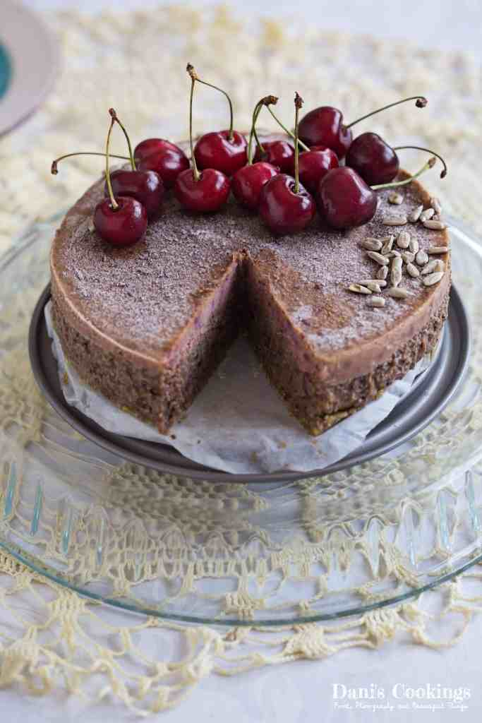 Raw Sunflower Seed Cherry Cake made with and healthy ingredients. The cake has three different layers, equally delicious and full of flavours. Find the recipe at daniscookings.com