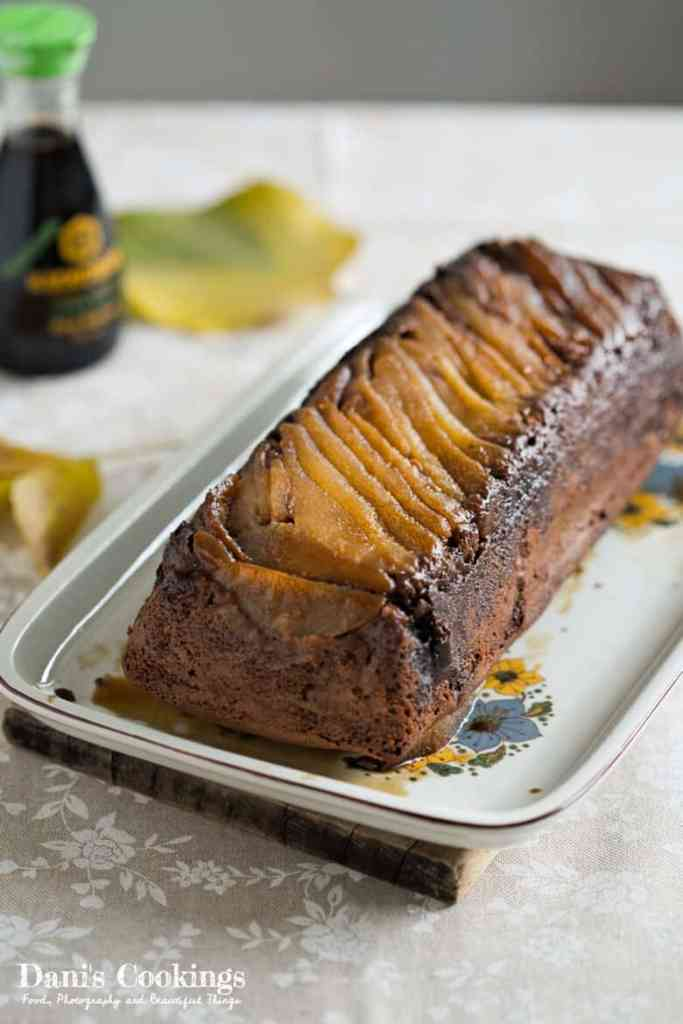 Pear Upside Down Cake with Soy Sauce and Chocolate