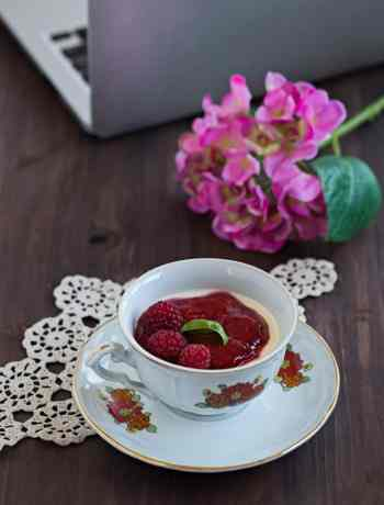 Thyme Infused Panna Cotta with Raspberry Sauce