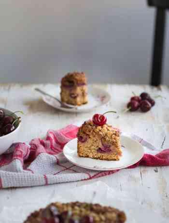 Honey Cherry Crumble Cake