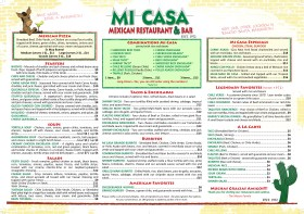 Mi Casa Restaurant & Bar Menu