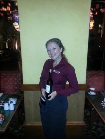 Our fabulous waitress with our Sebastiani wine