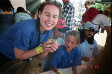 Dani working at a Day Care - Took kids to OC Fair to see the baby chicks 1999