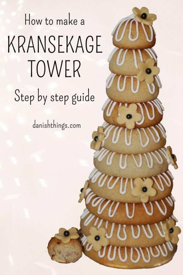 Danish Kransekage tower - marzipan wreath cake or ring cake - a recipe for a classic Danish cake. Find recipes and inspiration @ danishthings.com