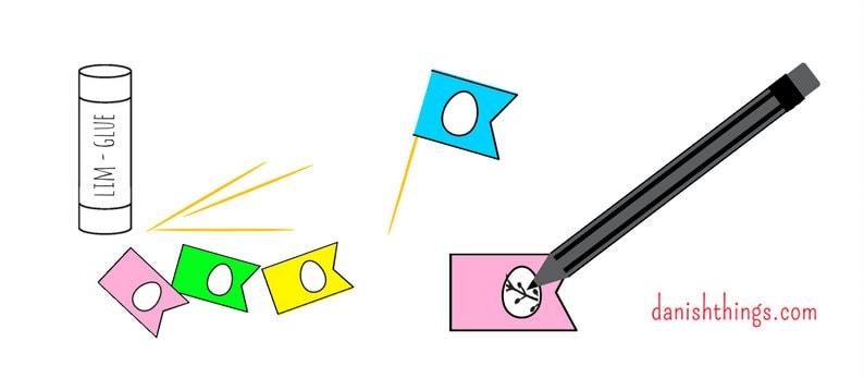 Påskeæg og pynt i papir. Brug de fine æg og flag til kagepynt, til pynt på grene og i vinduer. Find gratis pdf til print-selv, tips, opskrifter og inspiration på danishthings.com.
