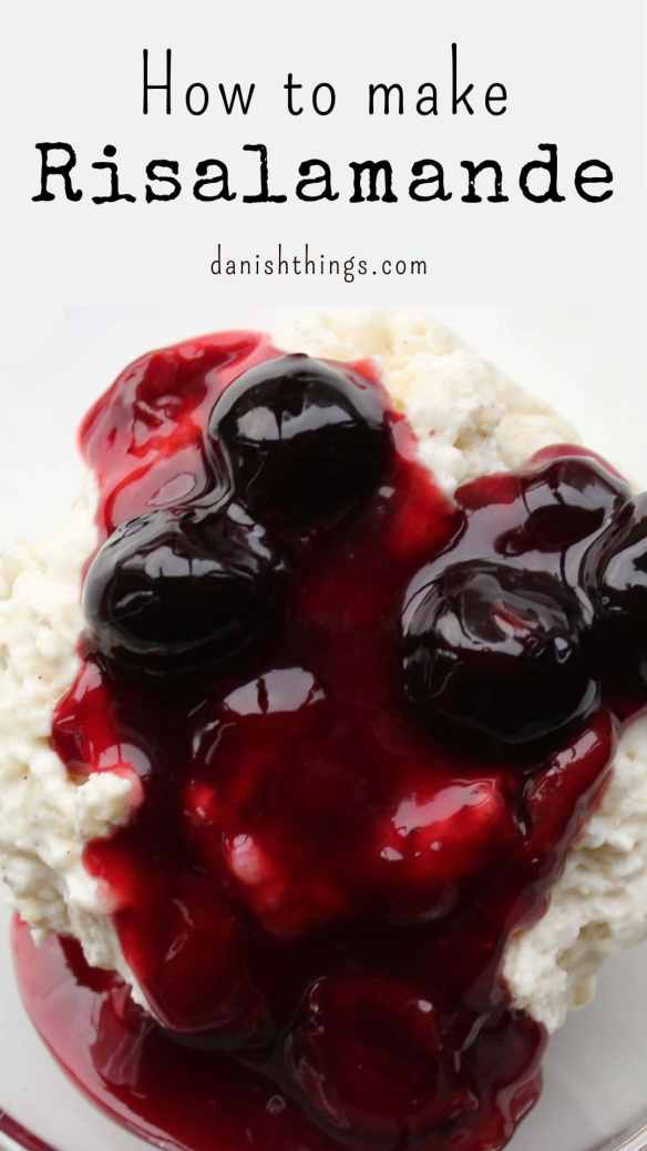 Risalamande - The most famous Danish Christmas dessert. It's a delicious rice and almond pudding with a cherry sauce. We serve it for Christmas - you can enjoy it any time of the year! Recipes and inspiration @ danishthings.com