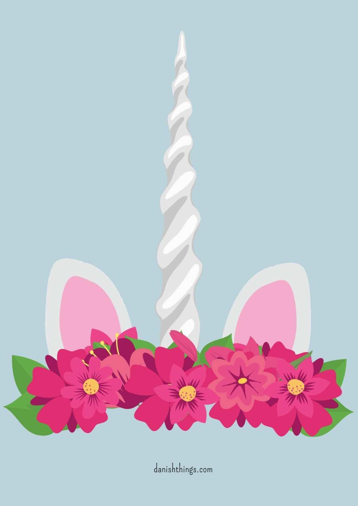 Enhjørning - udklædning eller dekoration. Unicorn - costume or decoration. Danish Things @ danishthings.com #enhjørning #udklædning #plakat #dekoration #kort #fastelavn #halloween #costume #poster #decoration #card