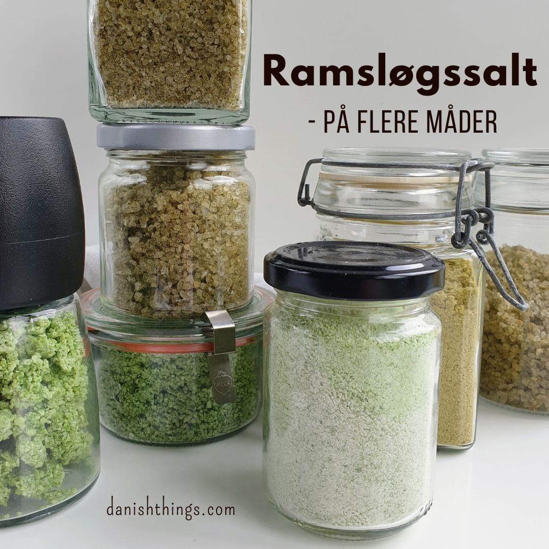 Sådan laver du ramsløgssalt - på flere måder. Skal dit ramsløgssalt være fint eller groft, vil du have et forårsgrønt salt, eller et mørkt salt, der smager af bagte løg? Find opskrifter, gratis print og inspiration til årets gang på danishthings.com #DanishThings #ramsløg #salt #ramsløgssalt #forår #spisforåret