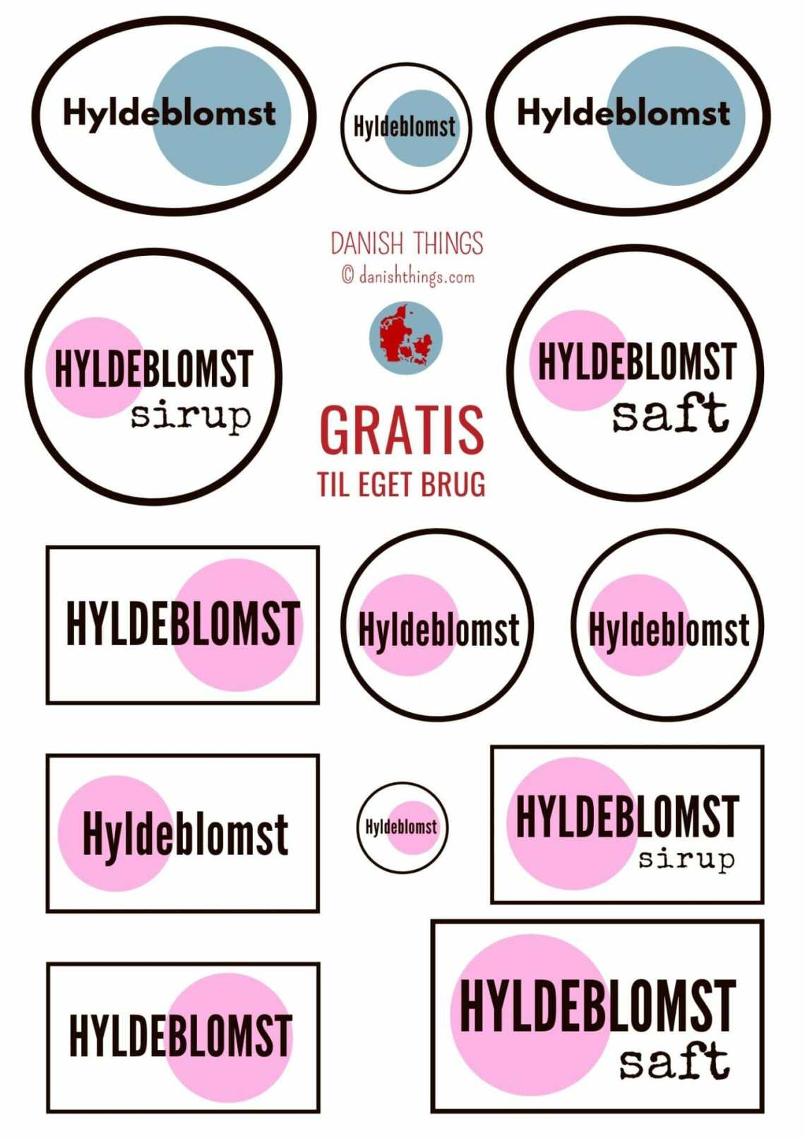 Labels og etiketter til hyldeblomstsaft eller hyldeblomstsirup. Find opskrifter, gratis download, print og inspiration til årets gang på danishthings.com #DanishThings #hyldeblomstsaft #hyldeblomstsirup #hyldeblomst #sirup
