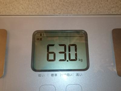 ダイエット4日目の実測体重