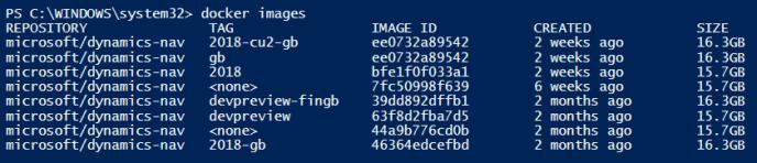 Dynamics NAV Docker Images